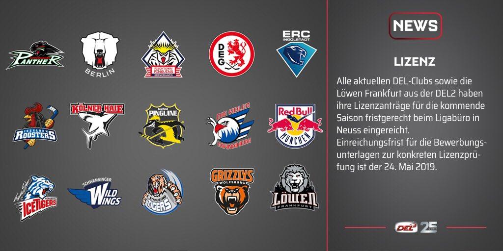 Alle aktuellen DEL-Clubs sowie die @loewenfrankfurt aus der @DEL2_News haben ihre Lizenzanträge für die kommende Saison fristgerecht beim Ligabüro in Neuss eingereicht. Einreichungsfrist für die Bewerbungsunterlagen zur konkreten Lizenzprüfung ist der 24. Mai 2019.
