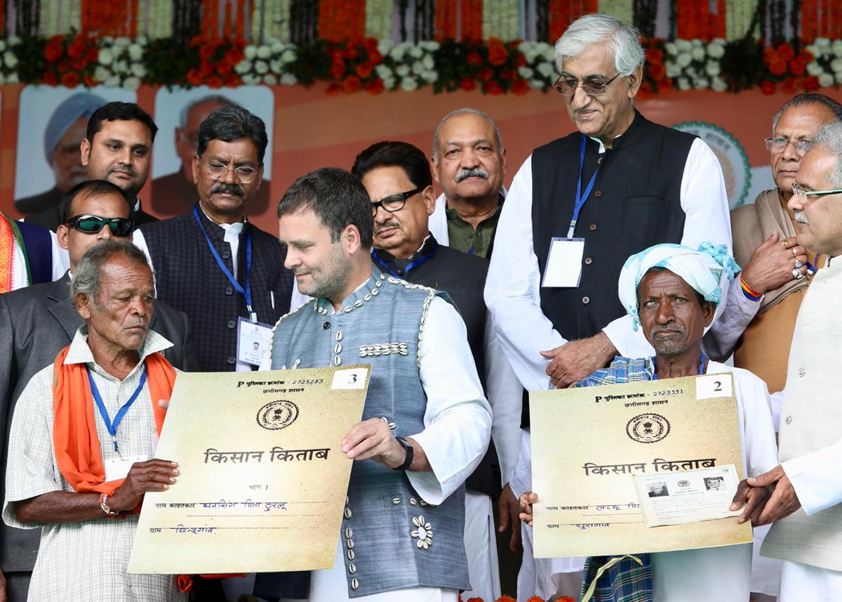 Congress party fulfills yet another poll promise to the tribals in Chhattisgarh by returning their land.  #CongressForTribalRights