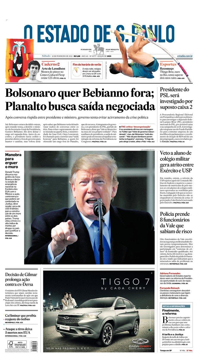 CAPA: Bolsonaro quer Bebianno fora; Onyx negocia saída para não piorar crise https://t.co/lVJiGTGTNb -via  @EstadaoPolitica