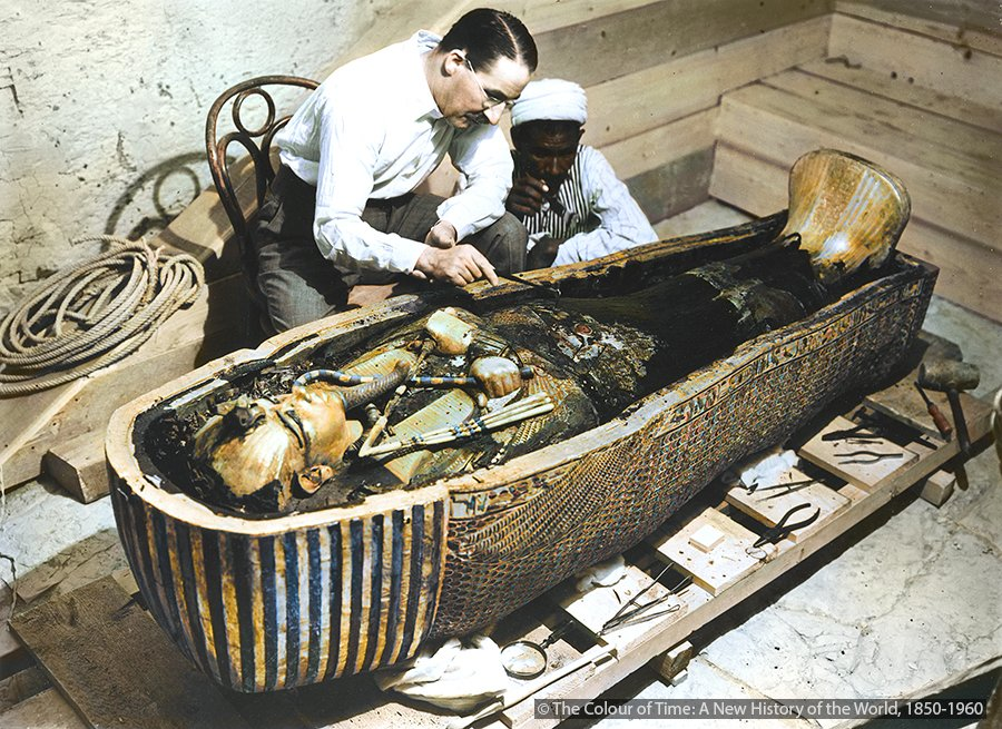 On this day in 1923: Howard Carter opens the inner burial chamber of the Pharaoh Tutankhamun's tomb and finds the sarcophagus.  Photo from The Colour of Time: https://tinyurl.com/y4yxtrnd
