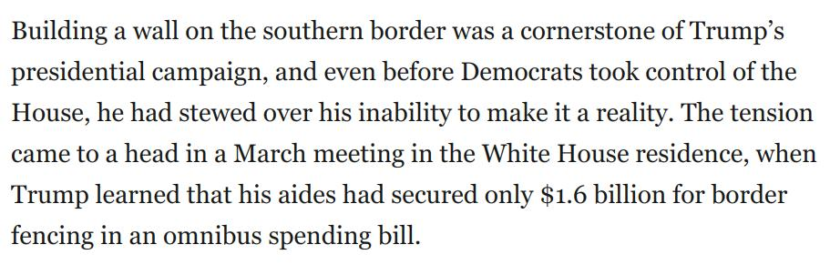 Unbelievable. Behold this glimpse into Trump's delusion, malevolence, and rage at not getting his way. Then ponder the fact that this is what's driving his national emergency. After all this happened, aides hit on it as a way to sate Trump's frustration:   https://t.co/UcNBpbcD4J