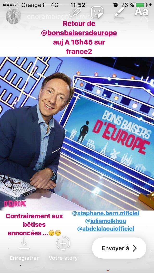 Tiens tiens mais C est le retour de #bonsbaisersdeurope ! Bah oui 😂😂! Et C est A 16h45 auj sur @France2tv et on y rit beaucoup !!!!! Bisous A vous et surtout bon we!!!!!