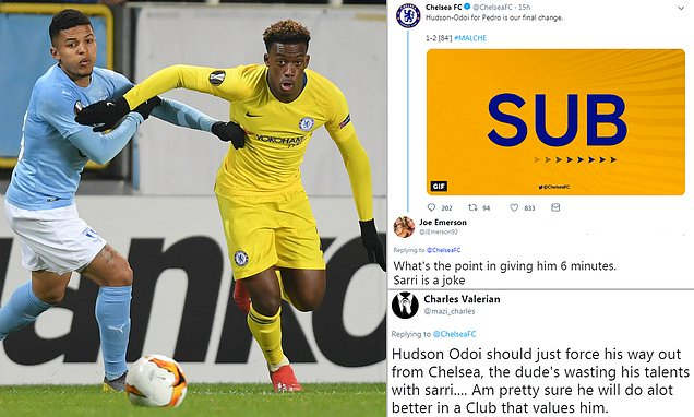 'No wonder he wants to leave'  Chelsea fans angry after Callum Hudson-Odoi plays just SIX minutes against Malmo in Europa League... despite club refusing to let him join Bayern Munich during January transfer window   https://t.co/bq4WLmXqwo