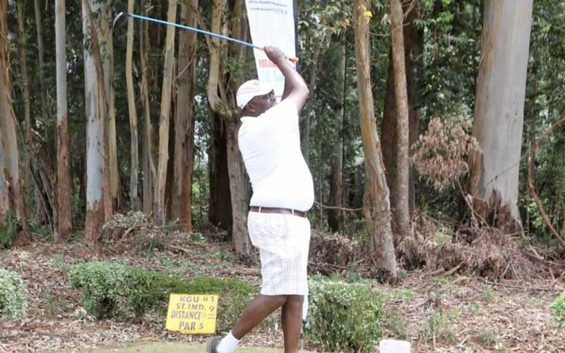 Golfers tee off during the Standard Group County Golf Classic Tournament at The Eldoret Golf Club