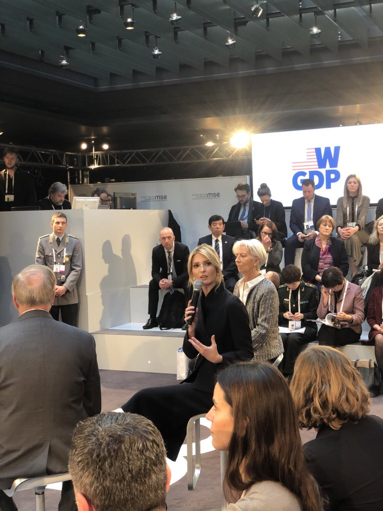 Discussing #WomensEconomicEmpowerment at the Munich Security Conference. Thank you @Lagarde, @LindseyGrahamSC & @MorganOrtagus for joining me in a discussion on the importance of unleashing women as catalysts for global peace, national security & economic prosperity. #WGDP