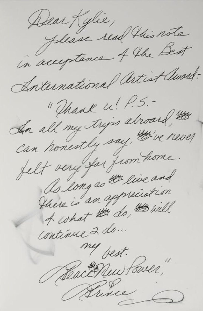 February 16th 1993 - Prince wins the Best International Solo Artist category at the 12th annual BRIT Awards. the award is accepted on his behalf by Kylie Minogue. Here is his hand written acceptance speech #Prince #onthisday #Prince4Ever <br>http://pic.twitter.com/dsB3w0IHGr