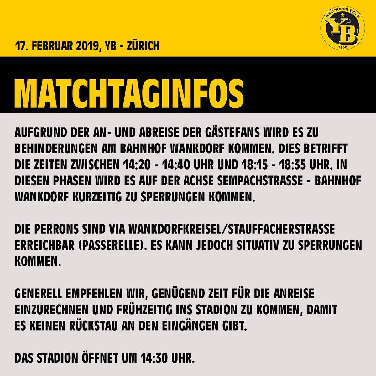Matchtag! Heute um 16:00 Uhr empfängt YB den FC Zürich.   Auf der Grafik sind einige Infos rund um das Spiel zu finden.   Reist rechtzeitig an, geht ins Stadion und unterstützt unser Team schon beim Warm Up!  💛🖤   #BSCYB #YBFCZ #WEIW