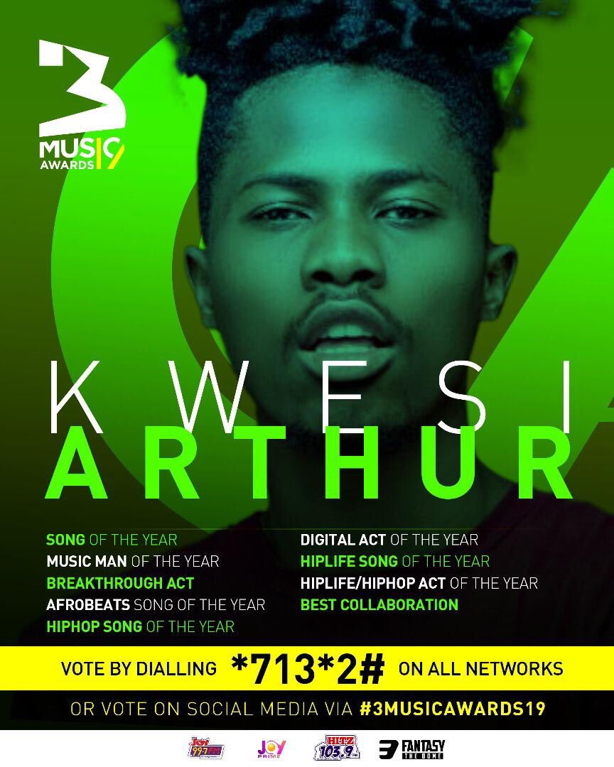 Big ups to @3musicawards for nominating me for these awards. Guys let's get going 👏🏾 👏🏾 vote for @kwesiarthur_  💥💥💥