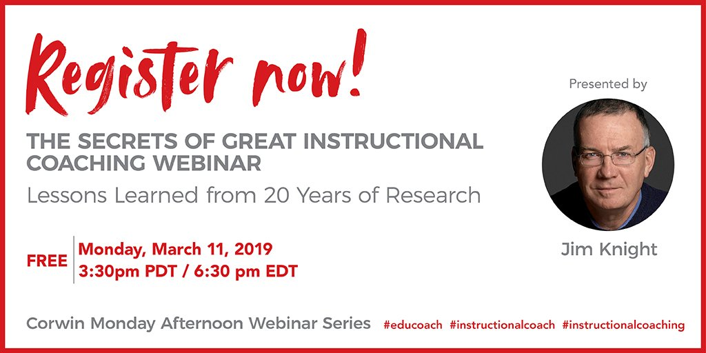 Ensure that you and your students are meeting instructional goals with @jimknight99's FREE webinar on 3/11! Register at: http://ow.ly/PWW650lwmP1   #educoach #instructionalcoach #instructionalcoaching
