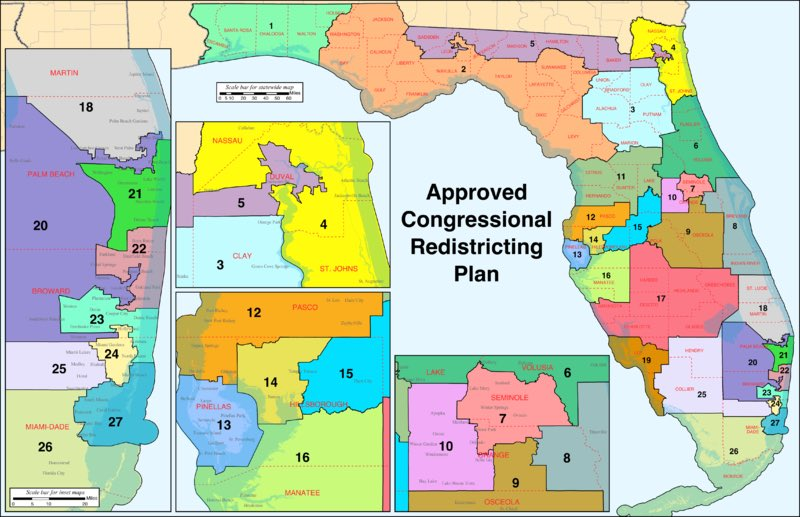 Map of FL's congressional districts. Look at #district4 and #district5, you can see the 5th stretches from Jacksonville to Tallahassee. 165 miles. Putting democrats and minority voters in one district so 1,2,3&amp;4 stay Republican #gerrymandering<br>http://pic.twitter.com/42ceryQM6e