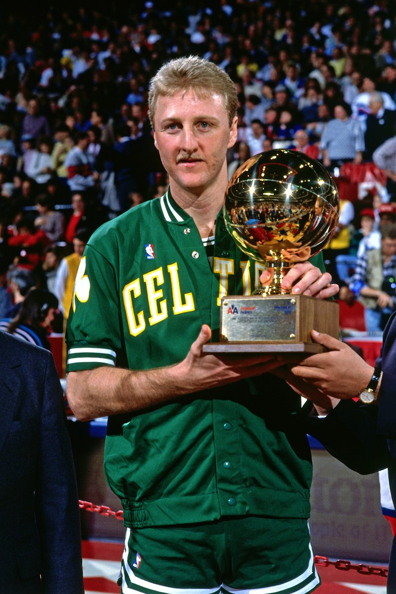 "Before the 1988 3-Point Contest, Larry Bird asked everyone competing: ""Who's coming in second?""  Larry Legend won in his warm-up jacket and celebrated before the last ball went in.   #MtnDew3PT"
