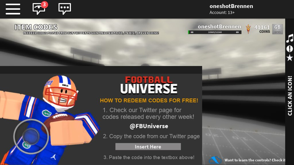 Football Universe On Twitter Celebrate The New Update With - redeem twiter codes roblox