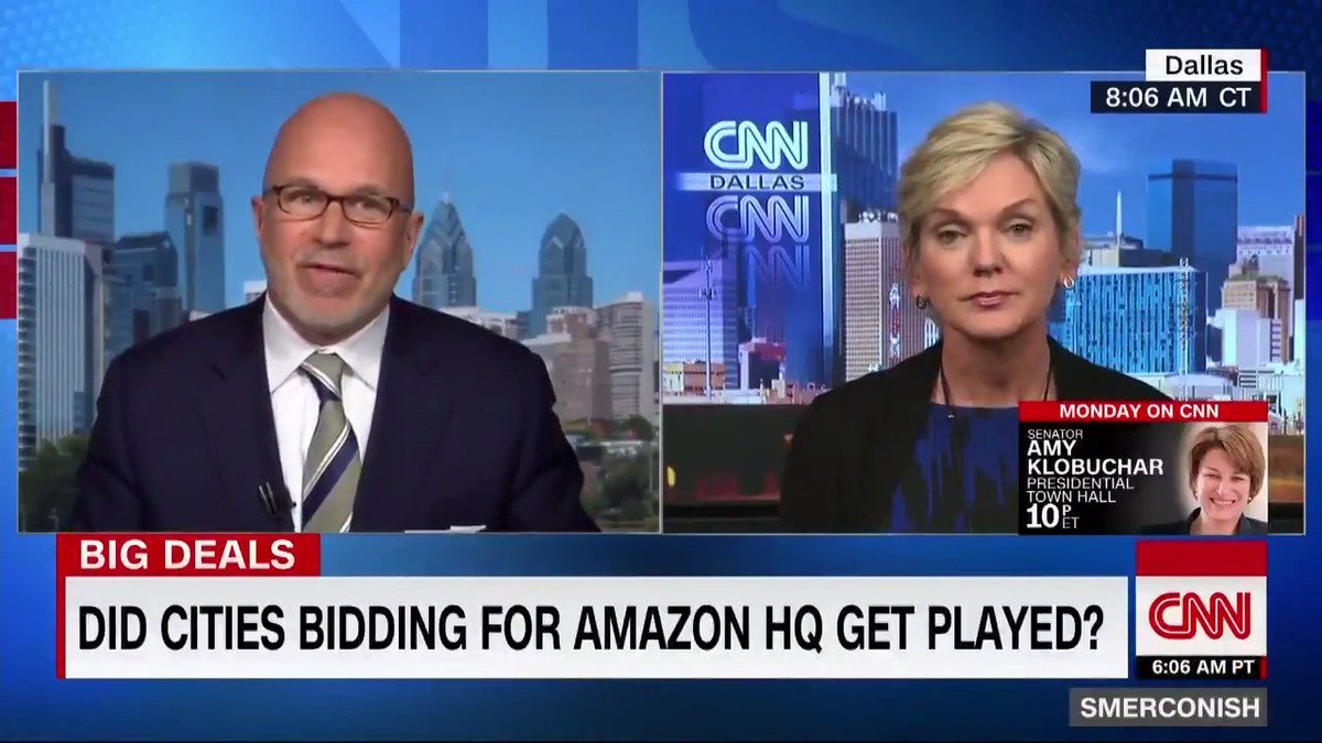 """Former Michigan Gov. @JenGranholm says Amazon withdrawing from NYC headquarters embodies a """"battle of anew tech-lash,"""" not progressives vs. centrists.   """"I don't think Trump is going to besuccessful in making this asocialist vs. Republicanbattle."""" https://cnn.it/2DLZjo0"""
