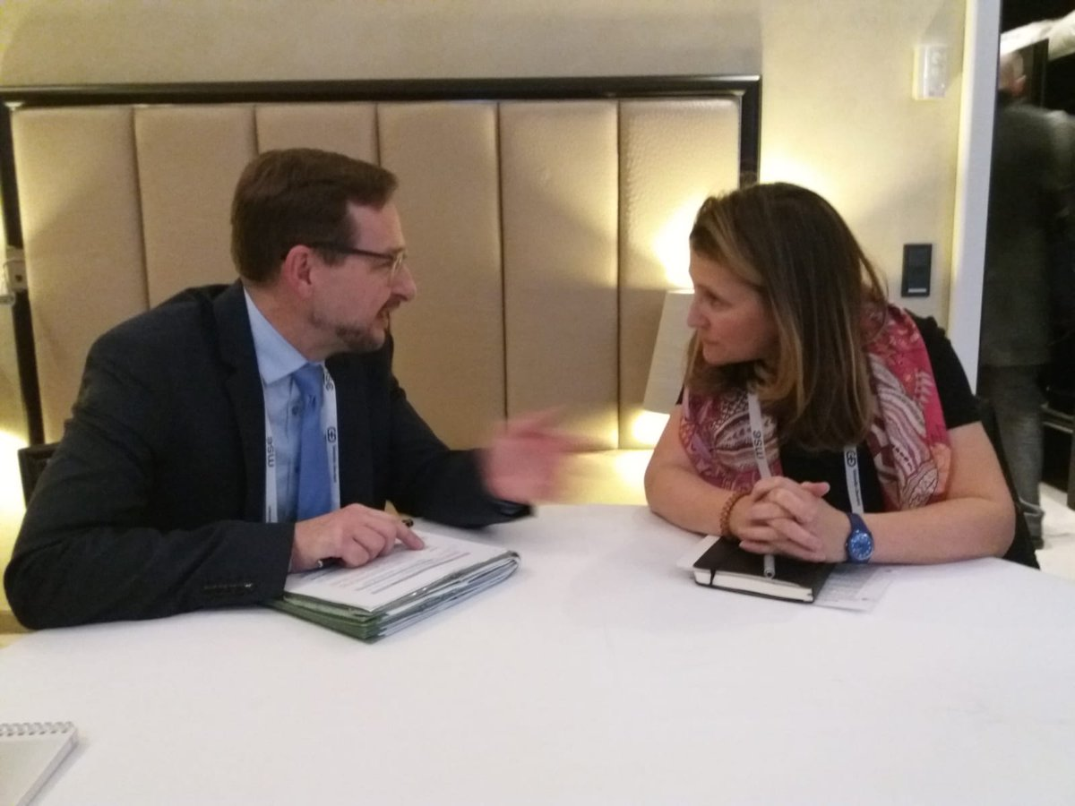 Thanked #Canada for support to #OSCE work in #Ukraine during meeting w/ Foreign Minister of Canada @cafreeland . Appreciate her country's efforts in advancing comprehensive security through promoting #genderequality.