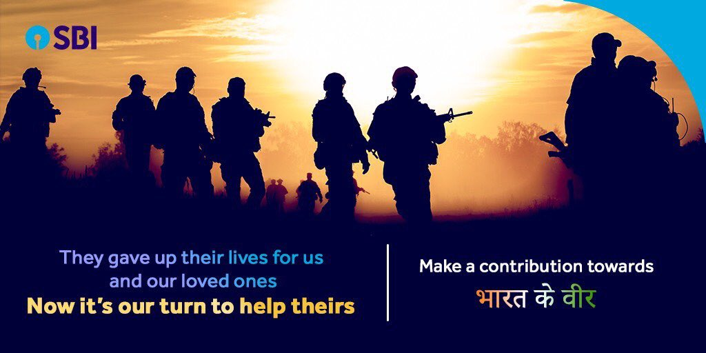 The State Bank of India @TheOfficialSBI has created a UPI for #BharatKeVeer initiative. You can now help the families of India's bravehearts by contributing through UPI using VPA- bharatkeveer@sbi