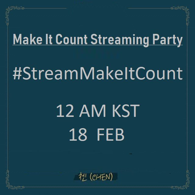 Okay, everyone I need your attention!   We&#39;re doing a mass streaming party for Make It Count this 18Feb at 12 AM KST, we will use the hashtag #/StreamMakeItCount  We need everyone to help &amp; join, so spread the word!  @weareoneEXO #EXO #CHEN<br>http://pic.twitter.com/sol5lSuQS5