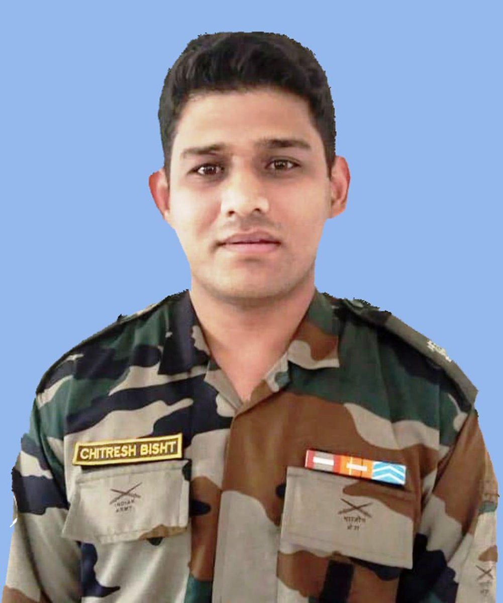#JammuAndKashmir: Major Chitresh Singh Bisht from Dehradun, Uttarakhand, who lost his life today while defusing an IED which had been planted by terrorists across the LoC in Naushera sector,Rajouri. During sanitisation of track in Naushera Sector, mines were detected on the track