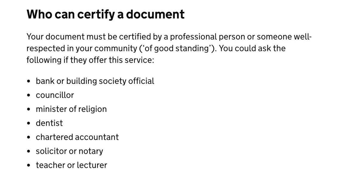 This nonsense about 'who can certify the copy of a document for legal purposes', on the official https://t.co/AgZQrPcZmq website, is virtually Edwardian. Why does it not include 'mother' as an example of someone who is in good standing in the community? And why is banker there?
