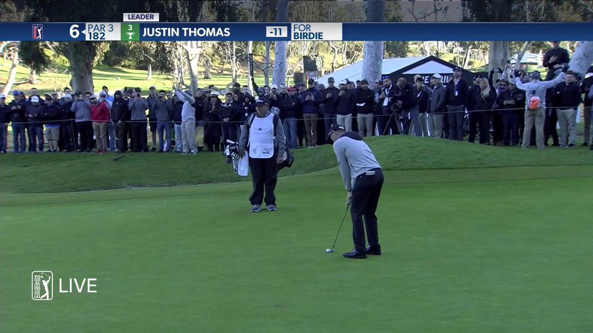 Watch Justin Thomas perfectly clip a chip off the par-3 sixth green at Riviera for incredible par save