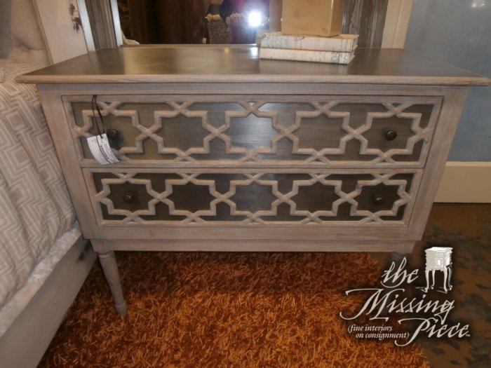 Side chest with two drawers and metal top and fronts with geometric overlays. Perfect as a nightstan