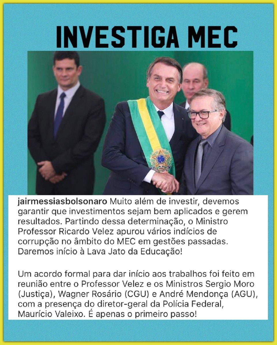 Sem essa história de que o passou passou. Há muito dinheiro a ser recuperado e em diversas áreas, o MEC é apenas o início. @ricardovelez @jairbolsonaro