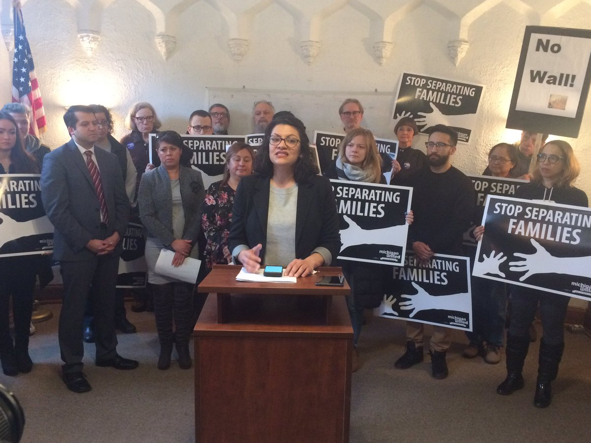 """We are the home of the #AmericanDream not the American nightmare.  @realDonaldTrump wants to use a #NationalEmergency to overrule the will of the people. Not on my watch."" @RashidaTlaib"
