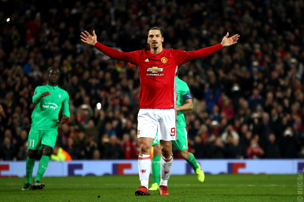 Zlat-trick 😉  #OnThisDay in 2017, @Ibra_Official netted three times in #MUFC's victory over Saint-Etienne!