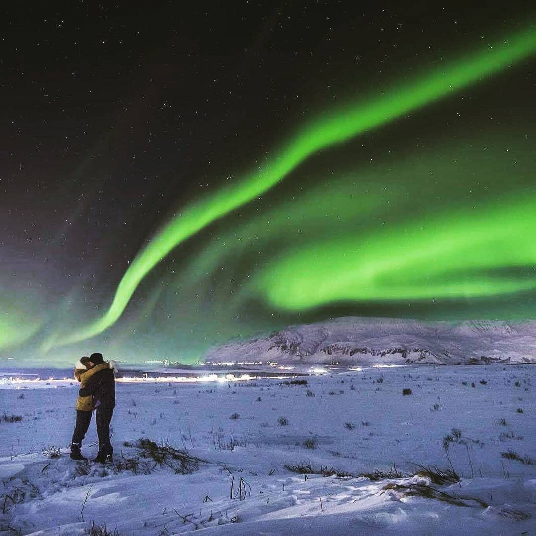 In the old times, people believed that a child conceived beneath the Northern Lights would be blessed with eternal luck, a good intellect, and beauty. 💚  #extremeiceland #icelandtravel