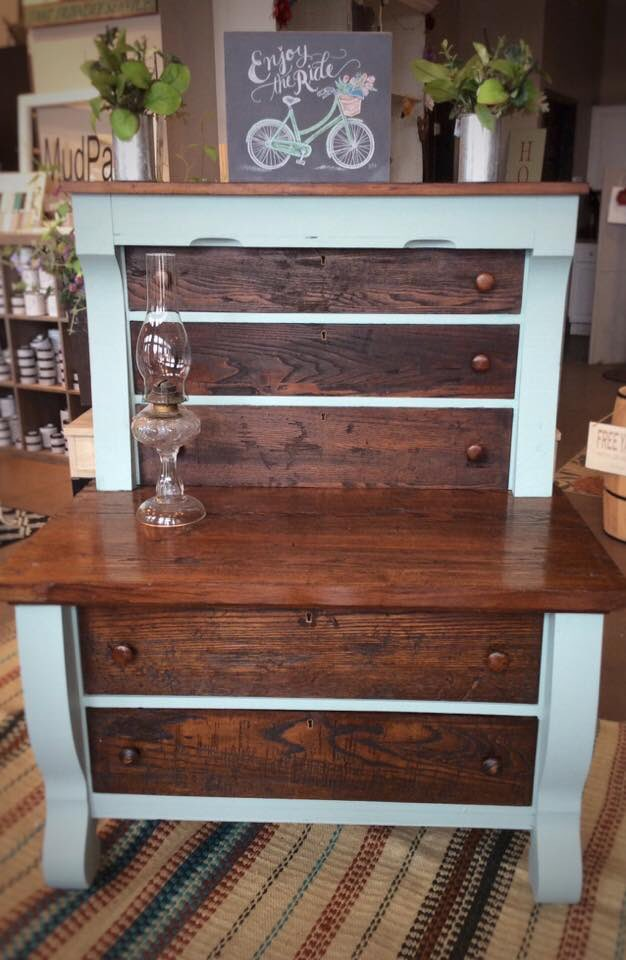 Absolutely gorgeous highboy chest by Roseberry Farms!  A combination of stain and paint produce a dramatic effect.  Get the look by using a stain and MudPaint's Seaside!  #mudpaint #paintedfurniture #vintagefurniture #furnituremakeover #upcyledfurniture #highboychest