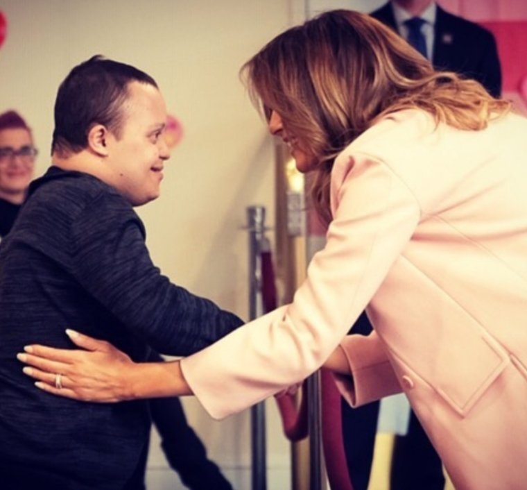 First Lady Melania Trump spent #ValentinesDay afternoon with patients at the Childrens Inn of NIH.