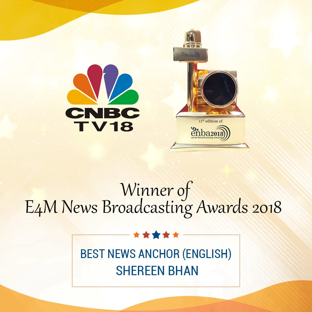 #enbaAwards | CNBC-TV18's @ShereenBhan wins award for the 'Best News Anchor- English'  #enba2018<br>http://pic.twitter.com/26wbNrM2c0