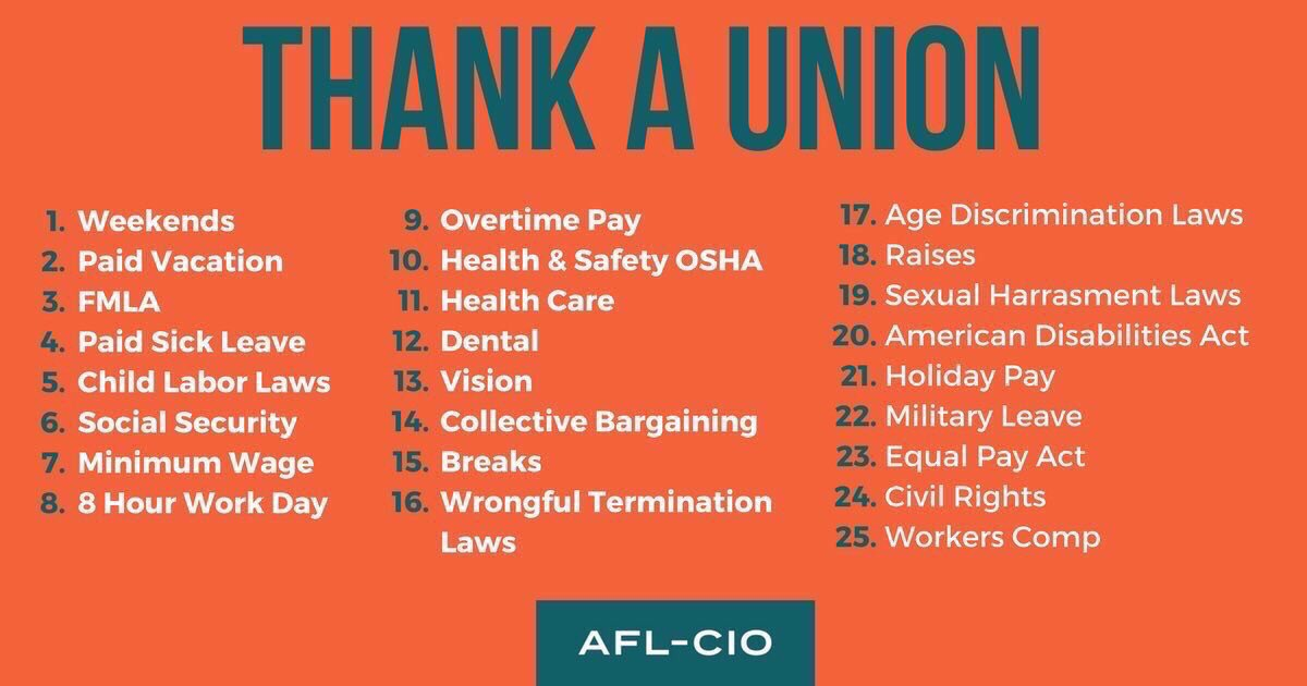 Thank a Union Member!   Weekends  Paid Vacations  Paid Sick Leave  Child Labor Laws  Minimum Wage  Overtime Pay  Holiday Pay  Social Security  8 Hour Work Day  And so much more!  . #1u #canlab #UnionStrong #SaturdayThoughts<br>http://pic.twitter.com/cJiV6jvJ4o