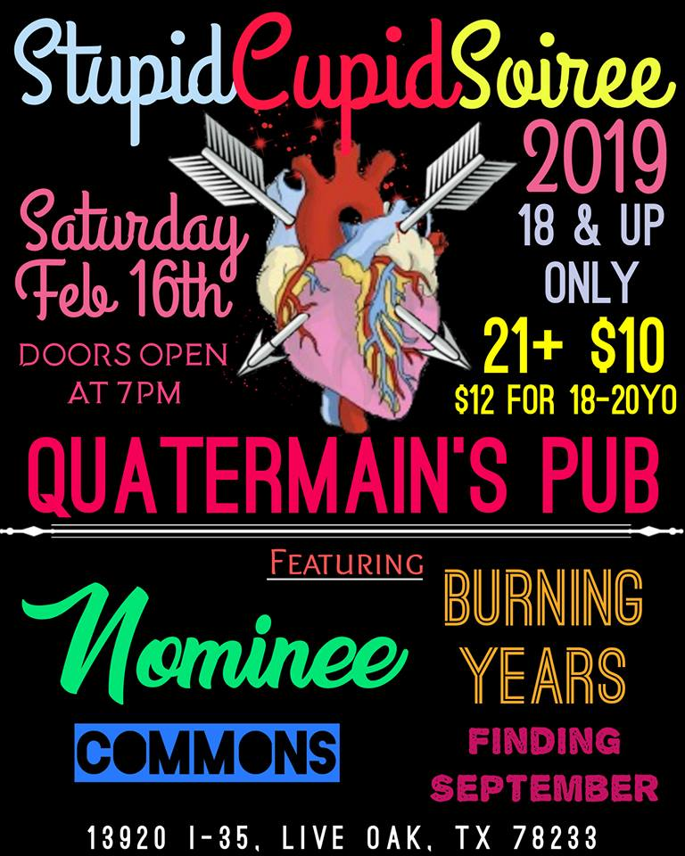 Good morning!!!  Rest up and then come party with us, @NomineeMusic, @CommonsTX & @BurningYearsATX tonight at Quatermain's Pub!