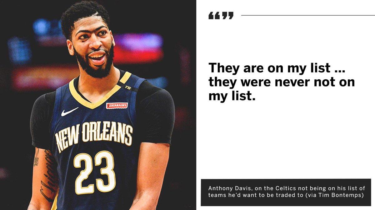 Looks like the Celtics are on Anthony Davis' list after all. (via @TimBontemps)