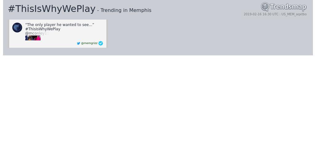 #thisiswhyweplay is now trending in #Memphis  https://www.trendsmap.com/r/US_MEM_aqxtbo