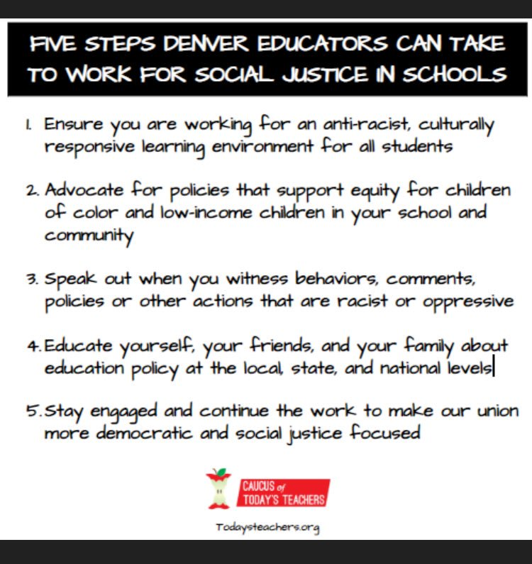 Our strike is over, but the work is not.  Here are five steps Denver educators can take to continue to work for social justice in our schools: #DenverTeacherStrike #denverstrike #redfored #edcolo @ColoradoEA