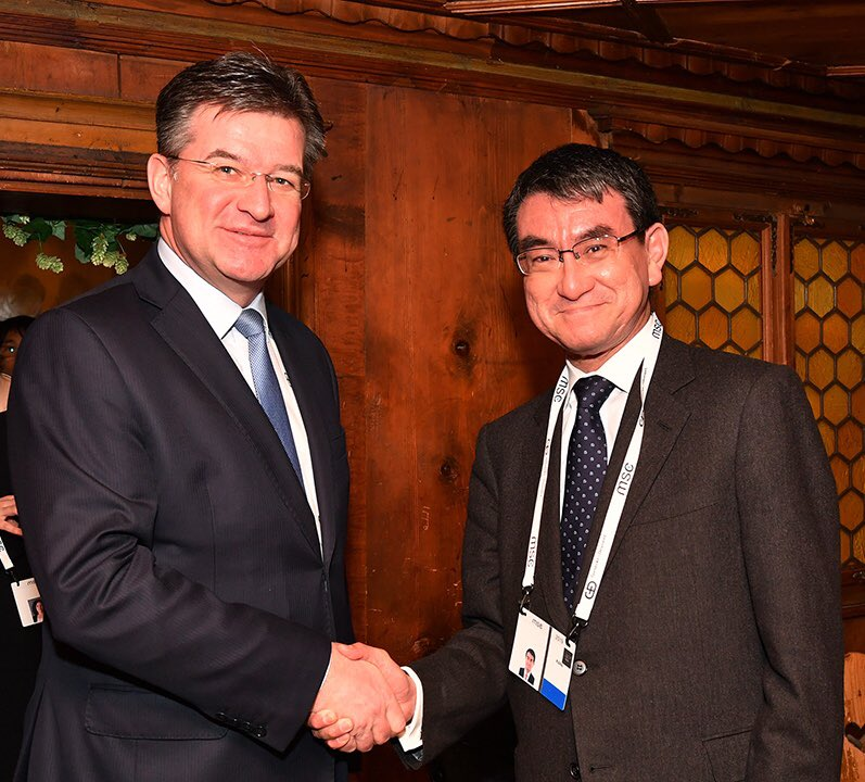 FM Kono held a meeting with H.E. Dr. Miroslav LAJČÁK, Minister of Foreign and European Affairs of the Slovak Republic. FM Kono expressed his wish to collaborate with Slovakia as next year 2020 marks 100th anniversary of exchange between Japan and the Slovak Republic.