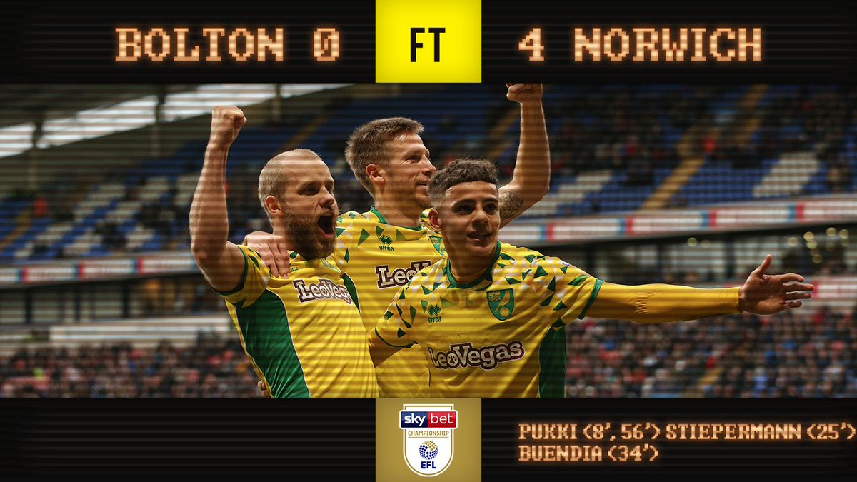 FULL-TIME | Bolton Wanderers 0-4 Norwich City   Three points and a great performance 🙌 #ncfc