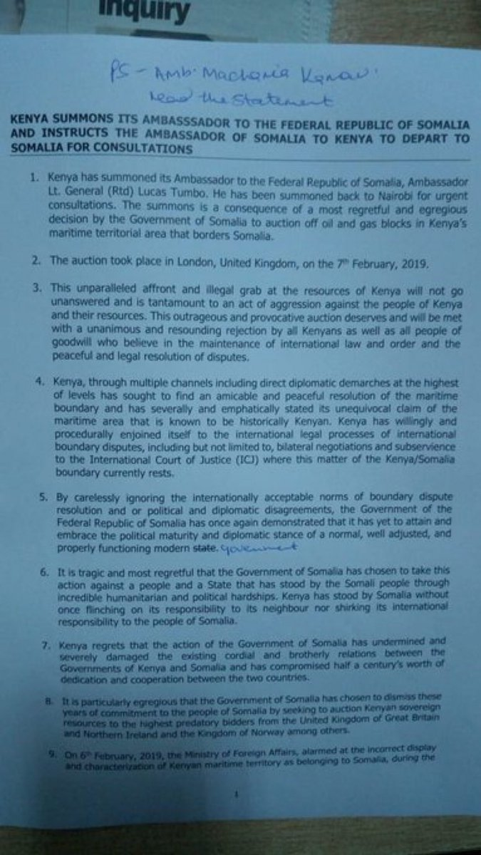 """الحكومة الكينية تستدعي سفيرها لدى الصومال """"لوكاس تومبو"""" إحتجاجا على مؤتمر لندن حول النفط والغاز الصومالي وعرض الحكومة الصومالية مناطق تدعي كينيا السيادة عليها.!  #الصومال #مقديشو  #كينيا #نيروبي #Somalia #mogadishu"""