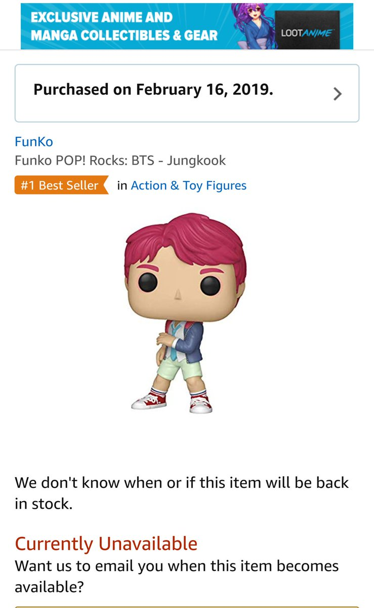 omg Funko pop jungkook   is not available  on Amazon right now I am K-army  n can&#39;t in Korea but  fortunately  I ordered three items earlier this evening   perhaps #Jungkook figure seems to be  out of stock  . I am afraid  I will get cancellation email from Amazon   <br>http://pic.twitter.com/Z2s3EoTKom