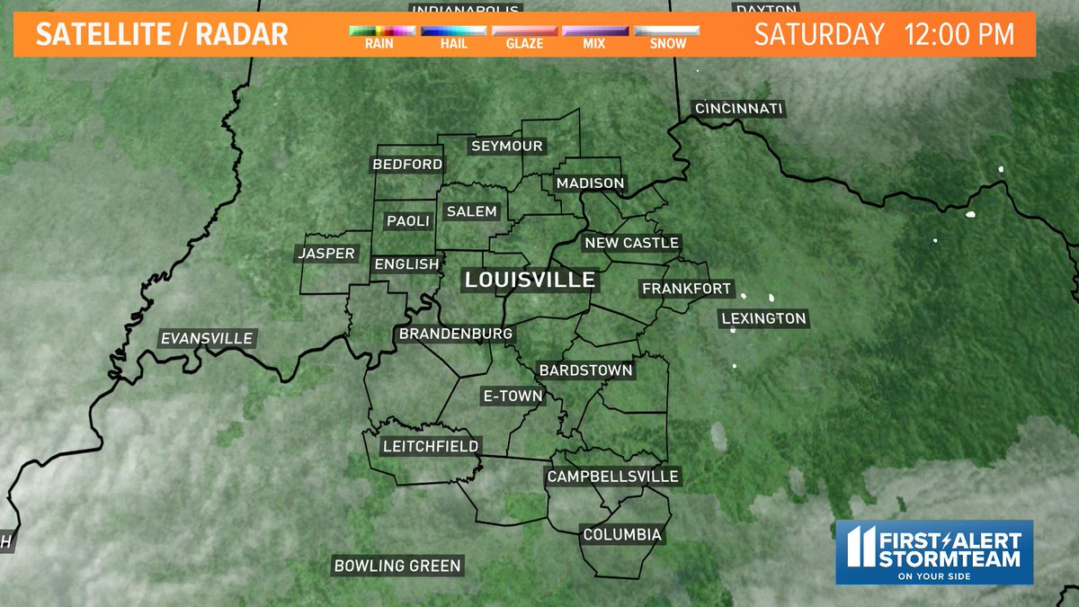 Here are conditions across #Kentuckiana on our satellite and radar.  Find more weather on my Facebook page at https://t.co/Dvvwet5zAN and https://t.co/TFEzQcBzZr #WHAS11  #FirstAlertStormTeam