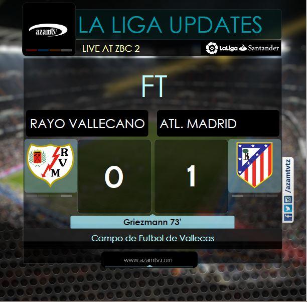 """#Laliga Rayo Vallecano v Atletico Madrid  FT' Antoinne Griezmann anaipa ushindi muhimu @Atleti kwa bao la """"maajabu"""" la dakika ya 73. Mchezo ulikuwa LIVE #ZBC2  #LaLiga #SisiNiSoka #RayoVallecanoAtleticoMadrid"""