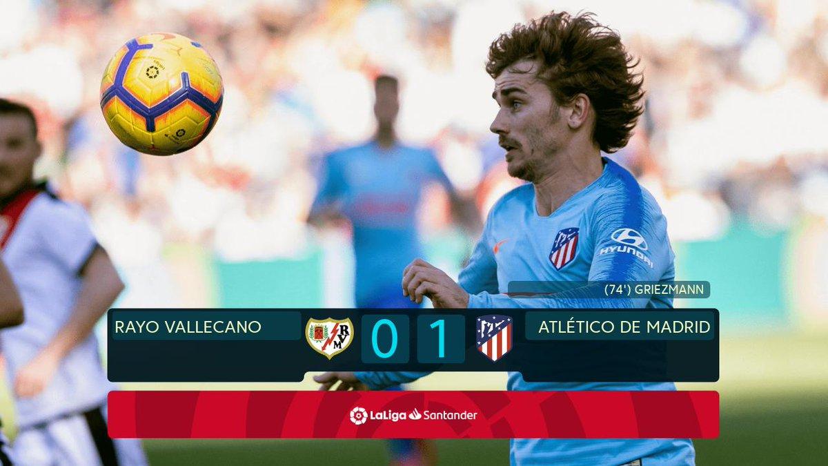 Victoria del @Atleti con suftimiento 0-1 ante el @RayoVallecano para seguir la estela de de la liga. #LigaSantander #LaLiga
