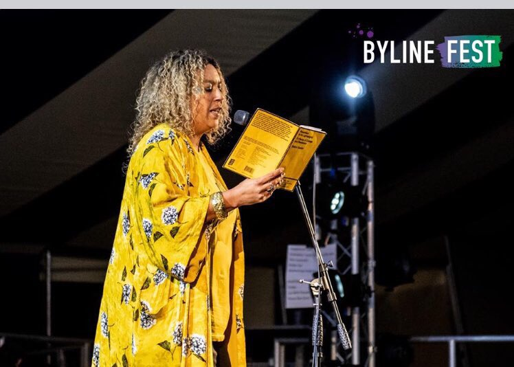 Can't wait for our amazing Poet Laureate @salenagodden to inspire us again @BylineFest 23-26 August get her EP from last year @BookCBoutique - 25% off Festival tickets must end soon! http://www.bylinefestival.com/2019