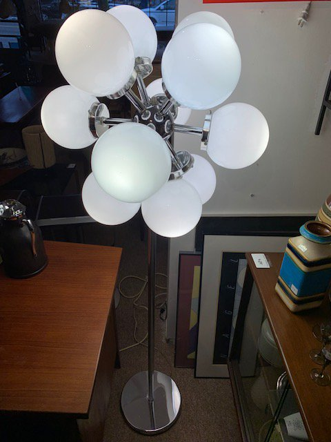 "Chrome & Glass Ball Floor Lamp $1200, H60"", W22"" #midcentury #vintage #midcenturymodern #interiordesign #s #design #retro #homedecor #mcm #furniture #art #interior #modern   #vintagefurniture #vintagestyle #homedesign #antiques #modernism #vintagehome #decoration #designer #bhfyp"