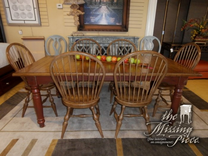 Habersham planked top farm table with (2) two leaves and 6 windsor back chairs. http://www.tmpstores