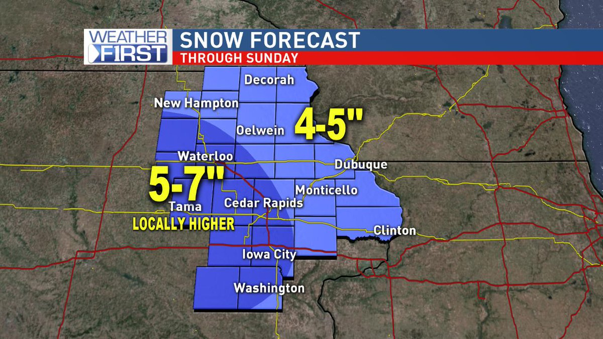 **Winter Weather Advisories** go into effect late tonight through Sunday evening. Snow amounts of 4-7' (locally higher) are a good bet across eastern Iowa. Dust the shovels off again and plan on slick road conditions.  #iawx