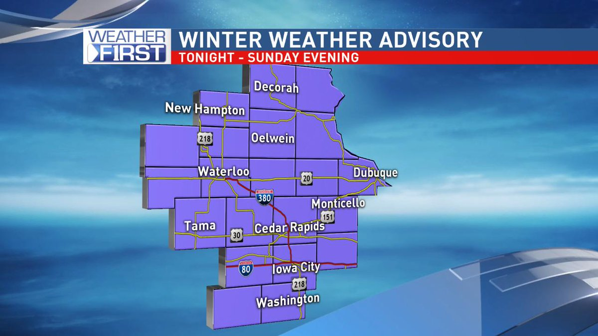 **Winter Weather Advisories** go into effect late tonight through Sunday evening. Snow amounts of 4-7' (locally higher) are a good bet across eastern Iowa. Dust the shovels off again and plan on slick road conditions.