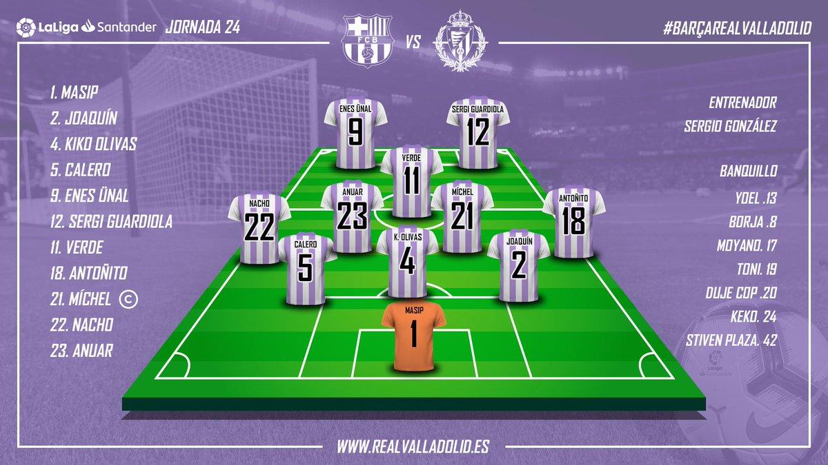 🙌🏻💜 ¡Alineación del Real Valladolid!  #pucela #BarçaRealValladolid