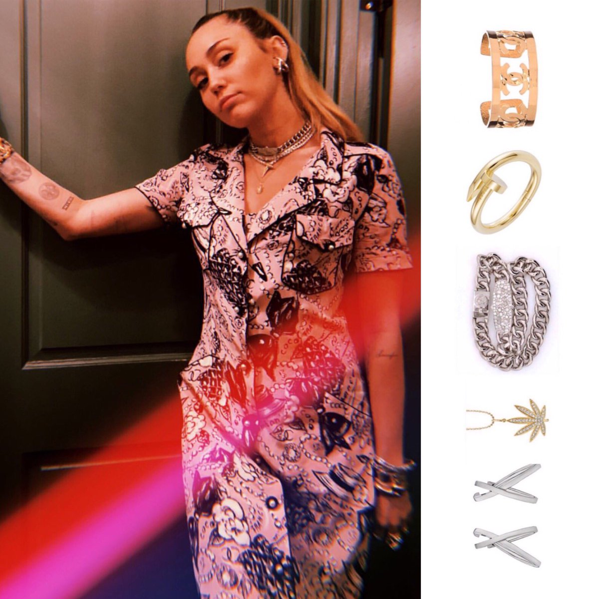 Miley Cyrus Fashion On Twitter Mileycyrus Has The Best Taste In Jewelry These Are Some Of The Pieces That She Has Been Wearing A Lot Recently Chanel Cc Logo Cuff